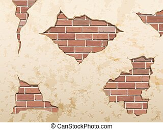 tijolo concreto, antigas, roto, fenda