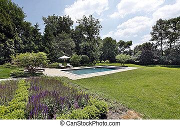tijolo, piscina, convés