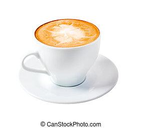 time., isolado, cappuccino, tarde, café