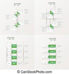timeline, item, gradiente, cor, verde, 4