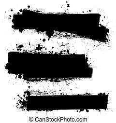 tinta, pretas, em branco