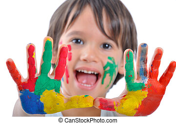 tintas, feliz, criança, mãos
