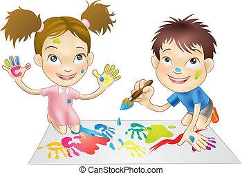tintas, tocando, crianças, jovem, dois