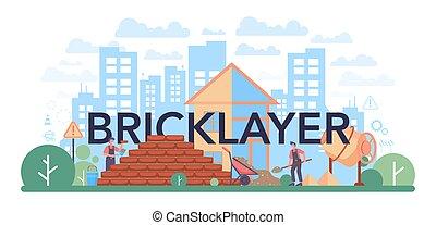 tipográfico, header., construtor, parede, profissional, tijolo, pedreiro, construir