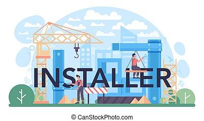 tipográfico, uniforme, trabalhador, instalar, instalador, header.