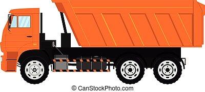 tipper, entulho, isolado, experiência., vetorial, vehicle., branca, truck.