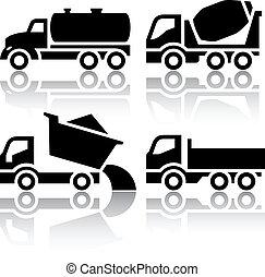 tipper, jogo, ícones, -, misturador, concreto, transporte caminhão