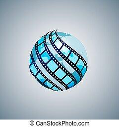 tiras, ao redor, globo, três, embrulhado, película