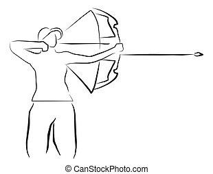tiro com arco, desporto, ilustração