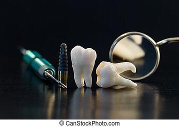 titânio, dental, implante