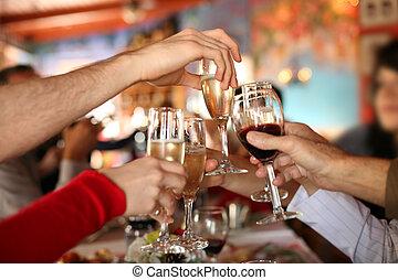 toast., óculos, segurar passa, fazer, champanhe, celebration., vinho