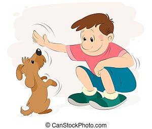 tocando, cão, menino