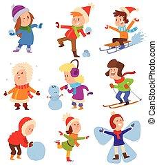 tocando, crianças, jogos, inverno, natal