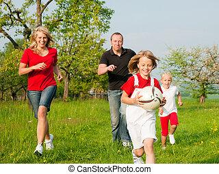 tocando, família, ballgames