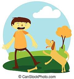 tocando, feliz, menino, seu, cão