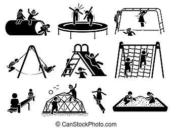 tocando, figuras, icons., crianças, pátio recreio, ativo, vara
