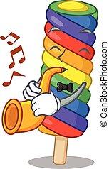tocando, mascote, conceito, arco íris, sorvete, trompete, desenho