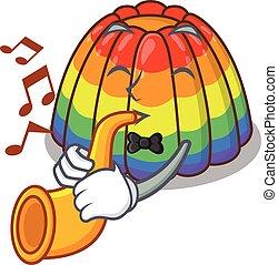 tocando, mascote, conceito, arco íris, trompete, geléia, desenho