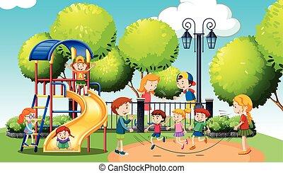 tocando, parque, público, crianças