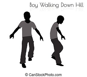 todos os dias, colina, fundo, andar, baixo, branca, pose, menino