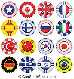 tokens, cassino, bandeiras