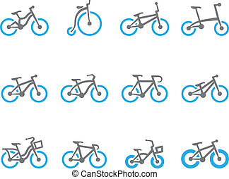 tom, bicycles, duo, -, ícones