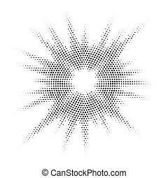 tom, vindima, ilustração, mão, vetorial, metade, desenhado, sunburst