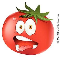 tomate, expressão, facial