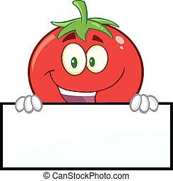 tomate, sobre, em branco, sorrindo, sinal