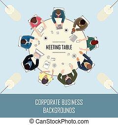 topo tabela, reunião, vista