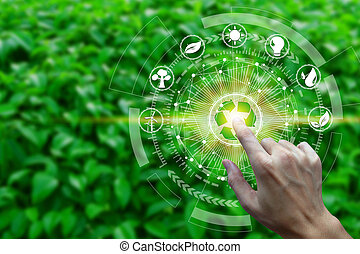 toque, meio ambiente, dedo, ícones