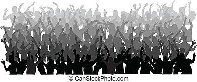 torcida, grande, pessoas, dançar
