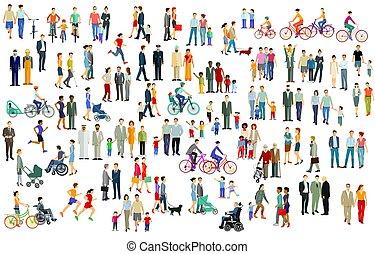torcida, grande, pessoas, isolado, grupo, white.eps