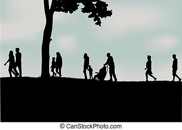 torcida, pessoas andando