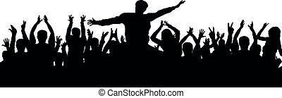 torcida, pessoas, aplaudindo, audiência, silhouette., alegria