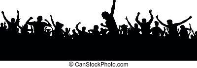 torcida, pessoas, fans., cima, silhouette., mãos, esportes, bandeira