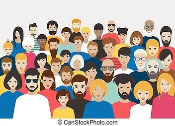 torcida, vector., diferente, grande, pessoas., grupo