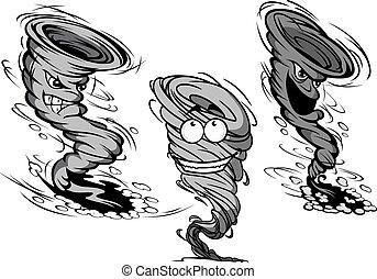 tornado, furioso, furacão, caricatura, caráteres