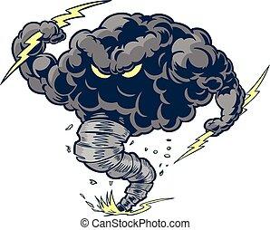 tornado, zangado, nuvem, mascote, trovão