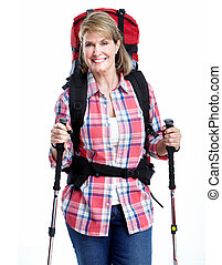 tourist., hiking., mulher sênior