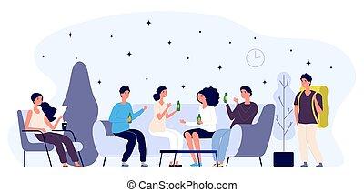 tourist., pessoas, feliz, albergue, ilustração, concept., apartamento, lounge, caráteres, vetorial, sala, jovem