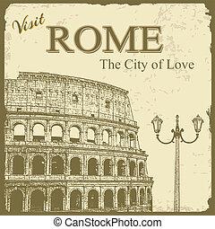 touristic, -, roma, cartaz, vindima