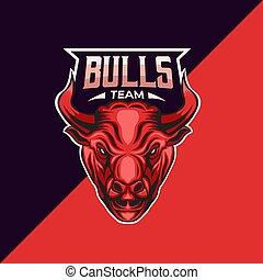 touro, modelo, mascote, logotipo