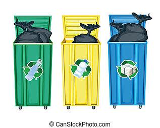 três, dustbins