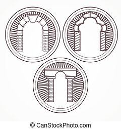 três, ilustração, vetorial, tijolo, arco, tipos, ícone