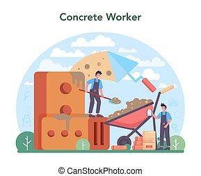 trabalhador, concept., profissional, preparar, concreto, construtor