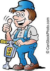 trabalhador construção, feliz