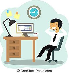 trabalhador, escritório, feliz