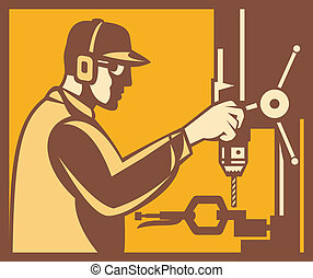 trabalhador, fábrica, operador, retro, imprensa broca
