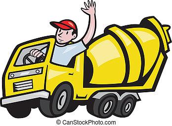 trabalhador, motorista, cimento, construção, caminhão, misturador